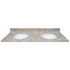 US Marble River Bottom Cultured Marble Undermount Double Sink Bathroom Vanity Top (Common: 61-in x 22-in; Actual: 61-in x 22-in)