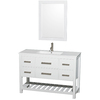 Wyndham Collection Natalie White Integral Single Sink Oak Bathroom Vanity with Engineered Stone Top (Common: 48-in x 19-in; Actual: 48-in x 18.5-in)