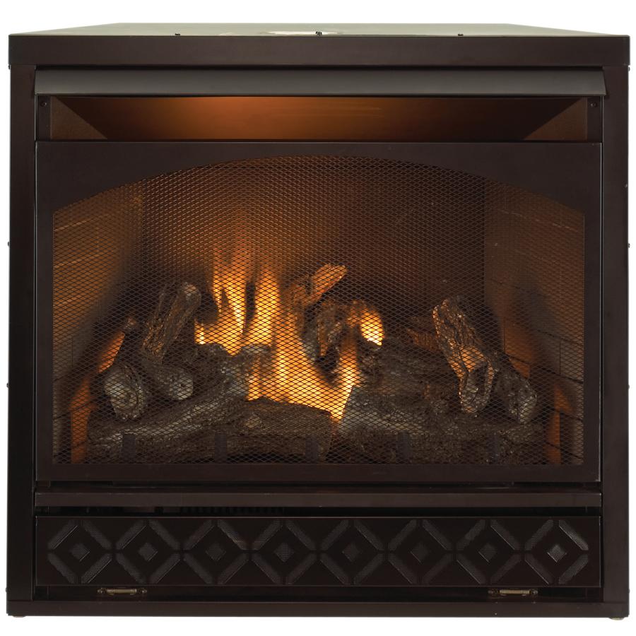 Shop Procom 35 In W 32 000 Btu Black Vent Free Dual Burner Gas Fireplace Firebox With Thermostat
