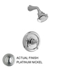 JADO Hatteras Platinum Nickel 1-Handle Shower Faucet Trim Kit with Multi-Function Showerhead