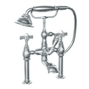 JADO Savina Brushed Nickel 3-Handle Fixed Deck Mount Tub Faucet