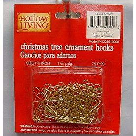 Holiday Living 75-Pack 1-3/8-in Gold Metal Ornament Hooks