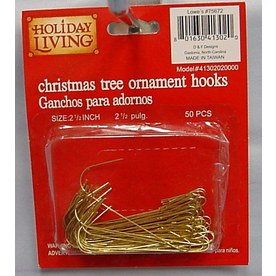 Holiday Living 50-Pack 2-1/2-in Gold Metal Ornament Hooks