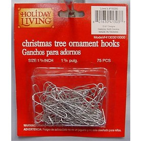 Holiday Living 75-Pack 1-3/8-in Silver Metal Ornament Hooks