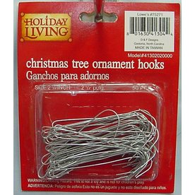 Holiday Living 50-Pack 2-1/2-in Silver Metal Ornament Hooks