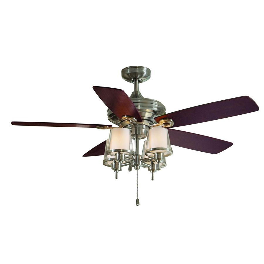 shop allen roth 52 in brushed nickel ceiling fan with. Black Bedroom Furniture Sets. Home Design Ideas