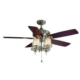 allen + roth 52-in Brushed Nickel Downrod Mount Indoor Ceiling Fan with Light Kit