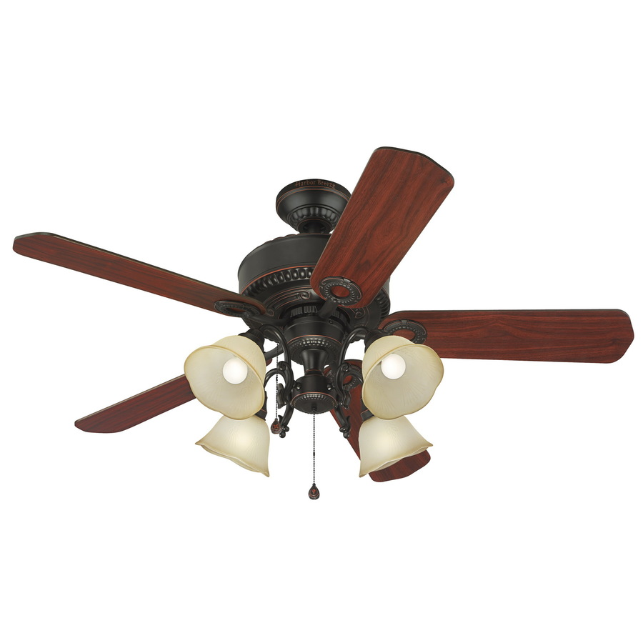 Shop Harbor Breeze Edenton 52-in Aged Bronze Downrod or Flush Mount Ceiling Fan with Light Kit ...