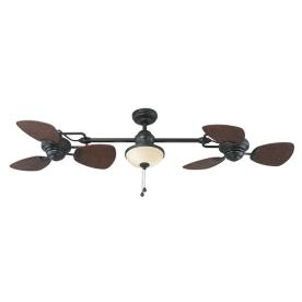 Harbor Breeze 74-in Twin Breeze II Oil Rubbed Bronze Outdoor Ceiling Fan with Light Kit