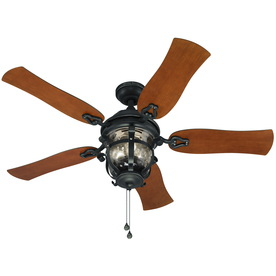 Shop harbor breeze lake placido 52 in black iron downrod or close mount indoor outdoor ceiling - Black iron ceiling fan ...