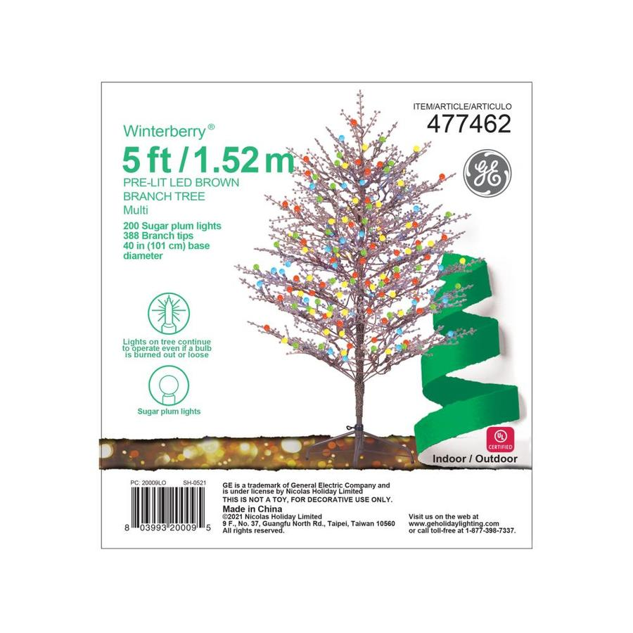 GE 12 Foot Brown Winterberry Tree 12 LED Multicolor Lights