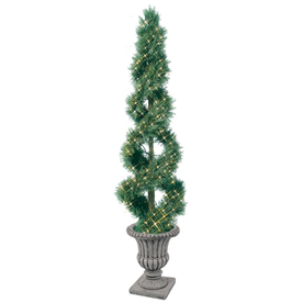 GE 6-ft Indoor/Outdoor Spiral Pre-lit Decorative Artificial Tree with 250-Count Clear Lights