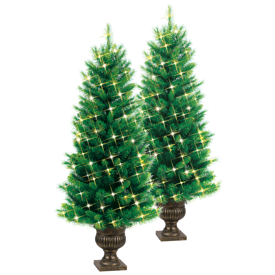 Shop ge 2pk 4 ft indoor outdoor pre lite pine artificial Outdoor christmas tree photos