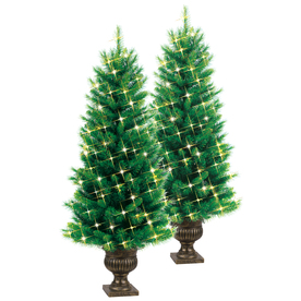 GE 4-ft Pre-Lit Pine Artificial Christmas Tree with White Incandescent Lights