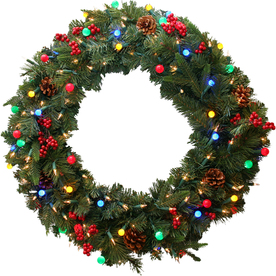 GE 30-in Pre-Lit Scotch Pine Indoor/Outdoor Artificial Christmas Wreath with Multicolor Constant Lights