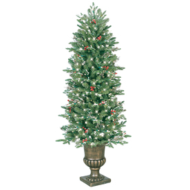GE 5-ft Pre-Lit Pine Artificial Christmas Tree with White Incandescent Lights