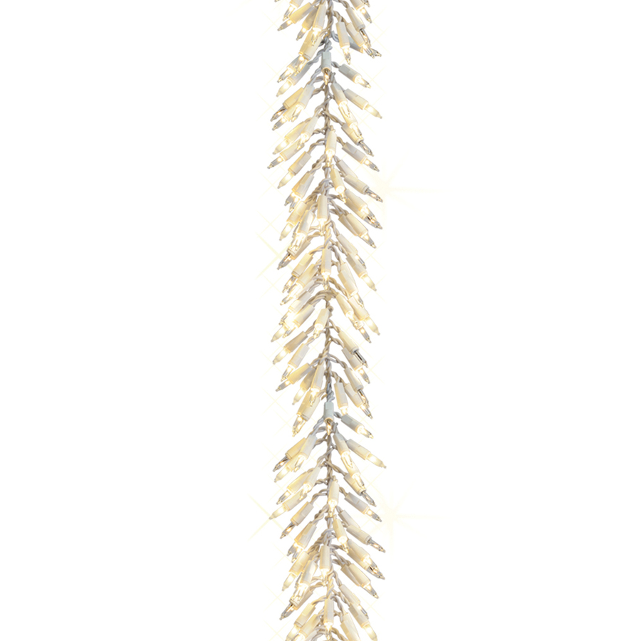 Shop ge 12 ft pre lit indoor outdoor cluster light artificial christmas garland with clear for Exterior christmas garland with lights