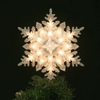 GE 11-in Plastic Snowflake Christmas Tree Topper with White Incandescent Lights
