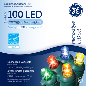 GE 100-Count LED Dome Multicolor Christmas String Lights ENERGY STAR
