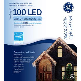 GE 100-Count LED Dome White Christmas Icicle String Lights ENERGY STAR