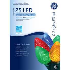 GE 25-Count LED C7 Multicolor Christmas String Lights ENERGY STAR