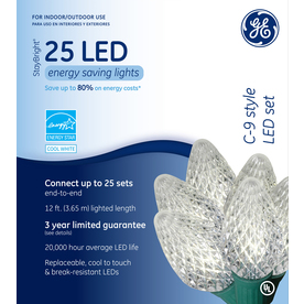 GE 25-Count LED C9 White Christmas String Lights ENERGY STAR