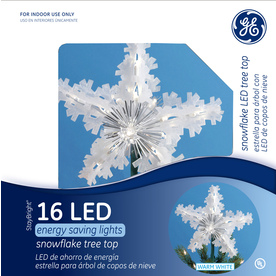GE 9.75-in Plastic Lighted LED Snowflake Christmas Tree Topper ENERGY STAR