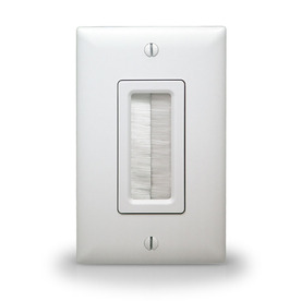 On-Q/Legrand Cable Access 1-Gang White Square Plastic Wall Plate