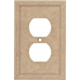 Somerset Collection 1-Gang Sienna Standard Duplex Receptacle Cast Stone Wall Plate