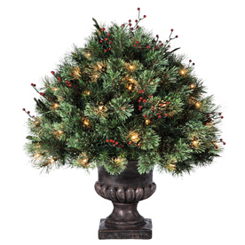 Holiday Living 2-ft Indoor/Outdoor Single Ball Topiary Pre-Lit Artificial Christmas Tree with 70-Count  Clear Incandescent Lights