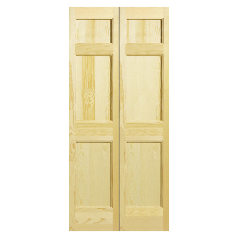 24 w 6 panel solid core wood interior bifold door at