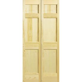 Shop Reliabilt 36 W 6 Panel Solid Core Wood Interior Bifold Door At