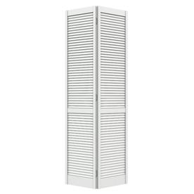 ReliaBilt 30-in x 79-in Louvered Solid Core Pine Interior Bifold Closet Door
