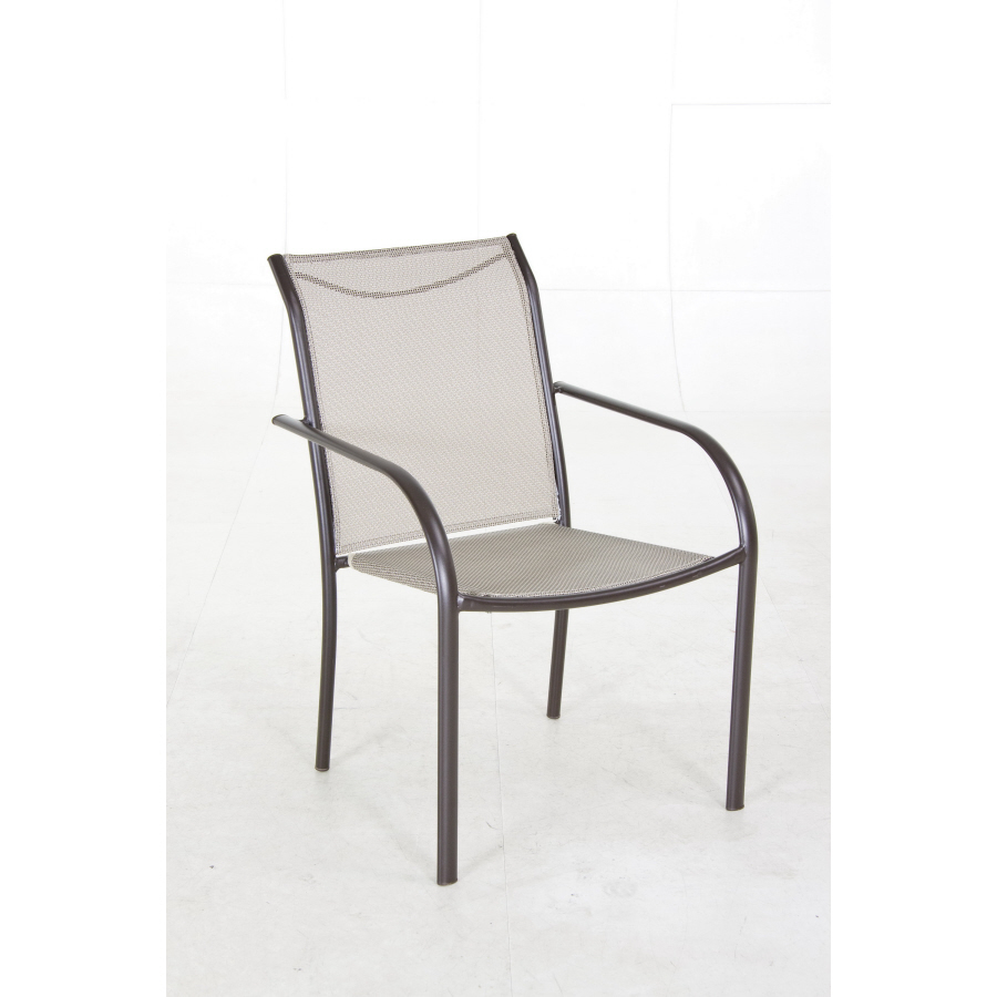 bronze sling seat steel stackable patio dining chair at