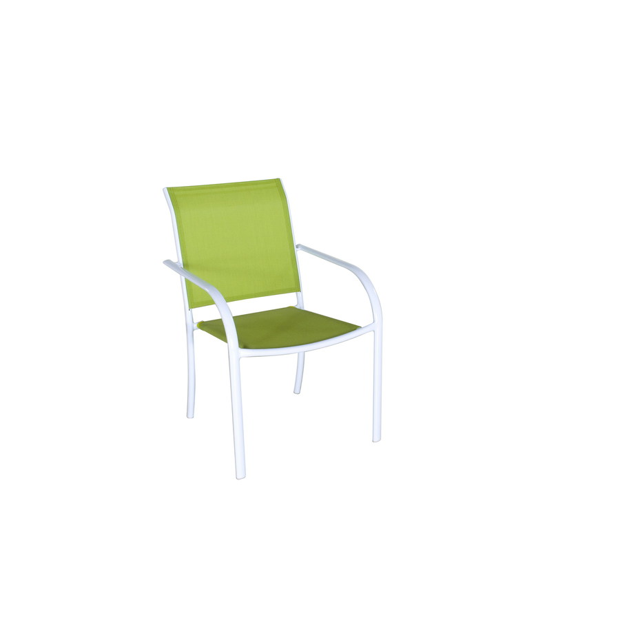 driscol white sling steel stackable patio dining chair at