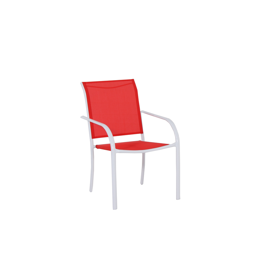white sling seat steel stackable patio dining chair at