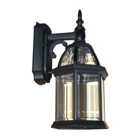 shop portfolio black motion activated outdoor wall light with beveled glass at. Black Bedroom Furniture Sets. Home Design Ideas