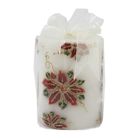 Holiday Living 4-in Cordless  Poinsettia LED Electric Pillar Candle