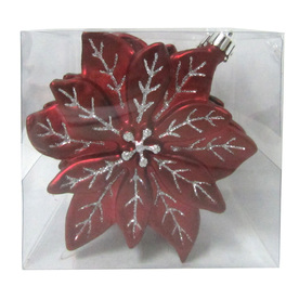 Holiday Living 4-Pack Burgundy and Silver Shatterproof Poinsettia Ornaments