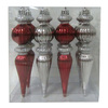 Holiday Living 8-Pack Burgundy and Silver Shatterproof  Finial Ornaments