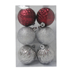 Holiday Living 6-Pack Burgundy and Silver Shatterproof Ornaments