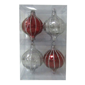Holiday Living 4-Pack Burgundy and Silver Antique Shatterproof Tear Drop Ornaments