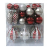 Holiday Living 62-Pack Burgundy and Silver Shatterproof Multi Pack Ornaments