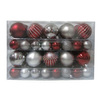 Holiday Living 68-Pack Burgundy and Silver Shatterproof Multi Pack Ornaments