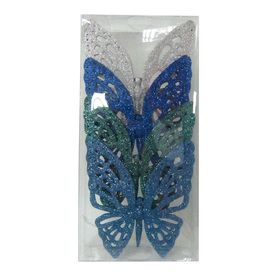 Holiday Living 4-Pack Blue Teal and Silver Paper Butterfly Clip Ornaments