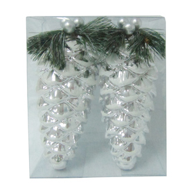 Holiday Living 2-Pack Shiny Silver White Glitter Shatterproof Pinecone Ornaments