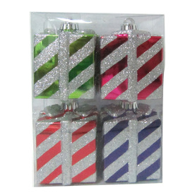Holiday Living 4-Pack Pink Purple Red and Green Shatterproof Gift Ornaments