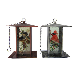 Holiday Living Brown/Silver Glass Platform Bird Feeder