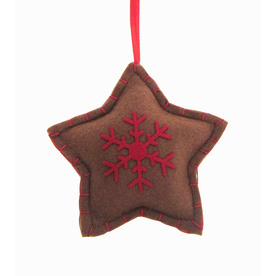 Holiday Living Brown Felt Fabric Star Ornament with Red Snowflake Ornament 676612C