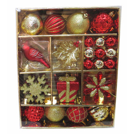 Shop holiday living 30 pack red and gold shatterproof ornament set at